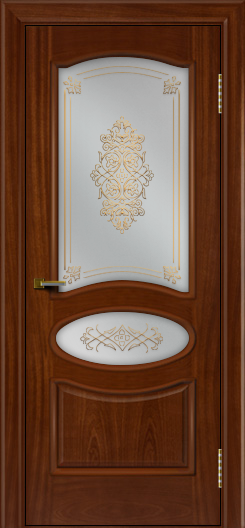 Двери ЛайнДор Оливия красное дерево тон 10 стекло Дамаск