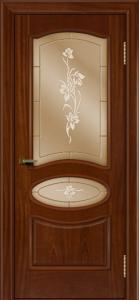 Двери ЛайнДор Оливия красное дерево тон 10 стекло Рим бронза