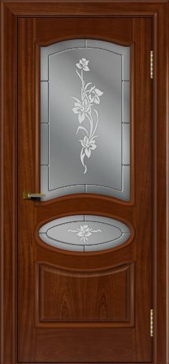 Двери ЛайнДор Оливия красное дерево тон 10 стекло Рим