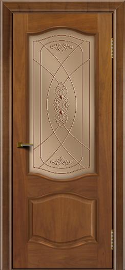 Двери ЛайнДор София американский орех тон 23 стекло Фреза бронза