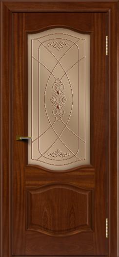 Двери ЛайнДор София красное дерево тон 10 стекло Фреза бронза