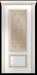 Двери Лайндор Виолетта-Д эмаль белая золотая стекло Пальмира бронза