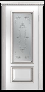 Двери Лайндор Виолетта-Д эмаль белая серебряная стекло Пальмира