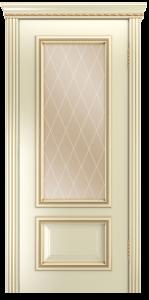 Двери Лайндор Виолетта-Д эмаль бисквит золотая патина стекло Лондон бронза