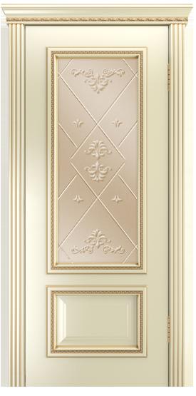 Двери Лайндор Виолетта-Д эмаль бисквит золотая патина стекло Прима бронза
