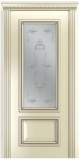 Двери Лайндор Виолетта-Д эмаль бисквит серебряная стекло Пальмира