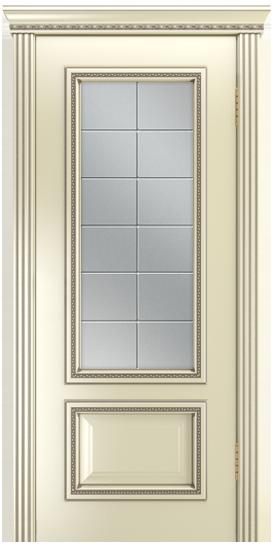 Двери Лайндор Виолетта-Д эмаль бисквит серебряная стекло Решетка