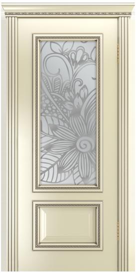 Двери Лайндор Виолетта-Д эмаль бисквит серебряная стекло Соната