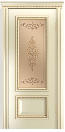 Двери Лайндор Виолетта-Д эмаль бисквит серебряная стекло Эрика