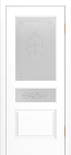 Двери Лайндор Калина К эмаль белая стекло Дамаск