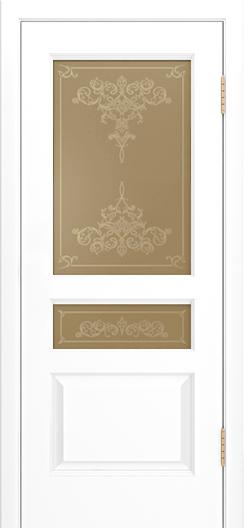 Двери Лайндор Калина К эмаль белая стекло Лира рис золото