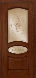 Дверь Лайндор Оливия Л тон 10 стекло 3Д Роза бронза