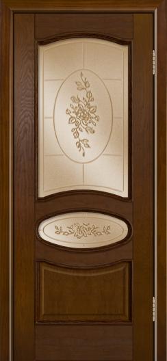 Дверь Лайндор Оливия Л тон 30 стекло 3Д Роза бронза