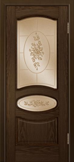 Дверь Лайндор Оливия Л тон 35 стекло 3Д Роза бронза