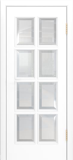 Двери Лайндор Аврора К эмаль белая стекло фацет