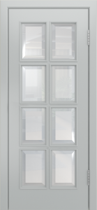 Двери Лайндор Аврора К эмаль серая стекло фацет