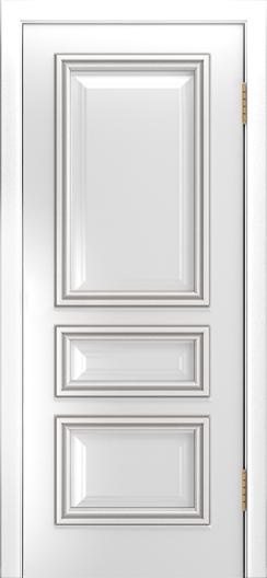 Двери Лайндор Агата Д эмаль белая патина серебро