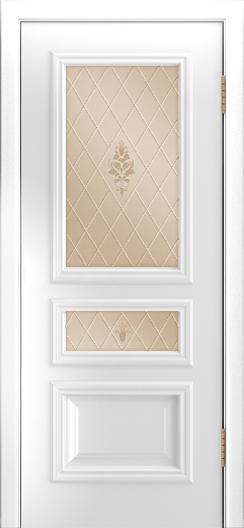 Двери Лайндор Агата Д эмаль белая стекло Лилия бронза