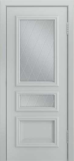 Двери Лайндор Агата Д эмаль серая стекло Лондон светлое