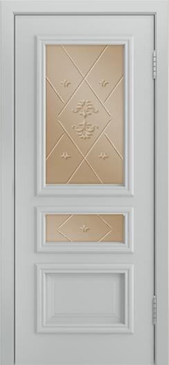 Двери Лайндор Агата Д эмаль серая стекло Прима бронза