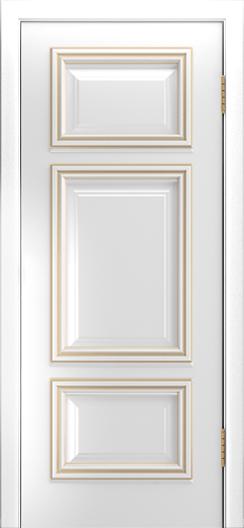 Двери Лайндор Афина Д эмаль белая патина золото