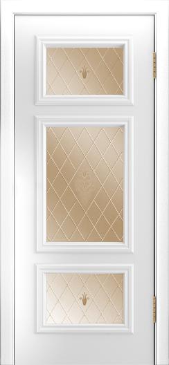 Двери Лайндор Афина Д эмаль белая стекло Лилия бронза