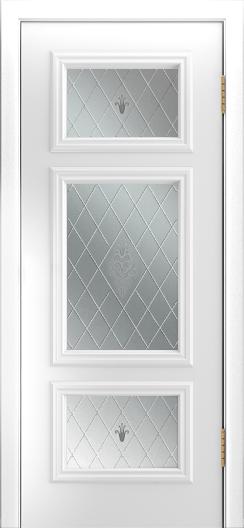 Двери Лайндор Афина Д эмаль белая стекло Лилия светлое