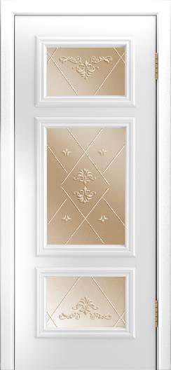 Двери Лайндор Афина Д эмаль белая стекло Прима бронза