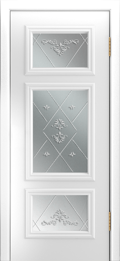 Двери Лайндор Афина Д эмаль белая стекло Прима