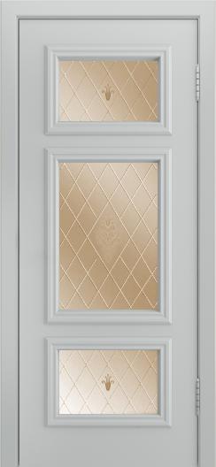 Двери Лайндор Афина Д эмаль серая стекло Лилия бронза