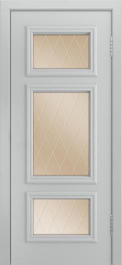 Двери Лайндор Афина Д эмаль серая стекло Лондон бронза
