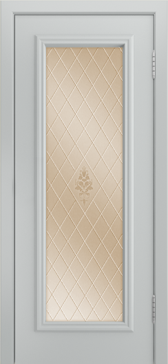 Двери Лайндор Валенсия Д эмаль серая стекло Лилия бронза