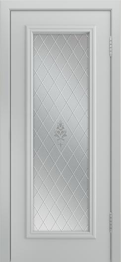 Двери Лайндор Валенсия Д эмаль серая стекло Лилия светлое