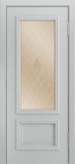 Двери Лайндор Виолетта Д эмаль серая стекло Лилия бронза