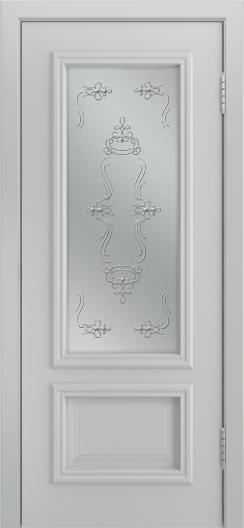Двери Лайндор Виолетта Д эмаль серая стекло Пальмира светлое