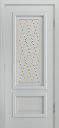 Двери Лайндор Виолетта Д эмаль серая фрезеровка филенок Лондон патина золотоая