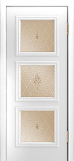 Двери Лайндор Грация Д эмаль белая стекло Лилия бронза