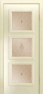 Двери Лайндор Грация Д эмаль бисквит стекло Лилия бронза