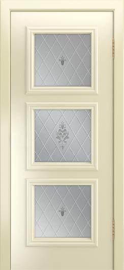 Двери Лайндор Грация Д эмаль бисквит стекло Лилия светлое