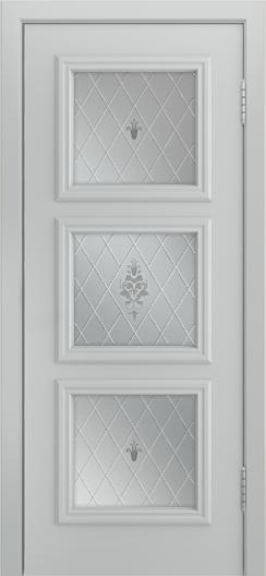 Двери Лайндор Грация Д эмаль серая стекло Лилия светлое