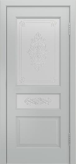Двери Лайндор Калина К эмаль серая стекло Дамаск