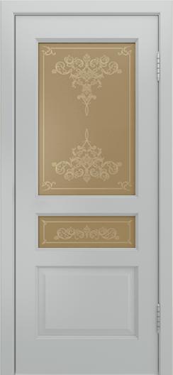 Двери Лайндор Калина К эмаль серая стекло Лира бронза