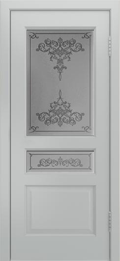 Двери Лайндор Калина К эмаль серая стекло Лира светлое