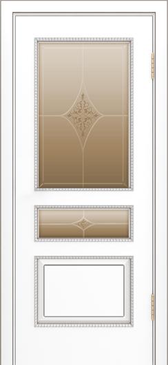 Двери Лайндор Калина П эмаль белая стекло Гелиос бронза
