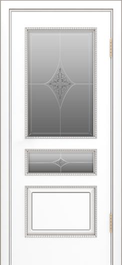 Двери Лайндор Калина П эмаль белая стекло Гелиос