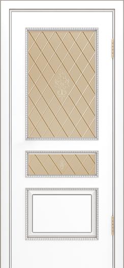 Двери Лайндор Калина П эмаль белая стекло Лилия бронза