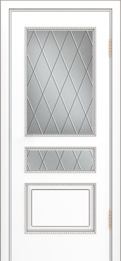 Двери Лайндор Калина П эмаль белая стекло Лондон светлое