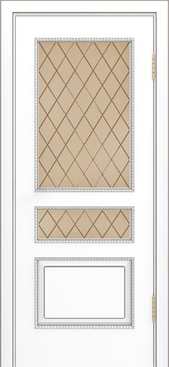 Двери Лайндор Калина П эмаль белая стекло Милтон бронза