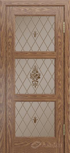 Двери ЛайнДор Грация К тон 45 стекло Лилия бронза