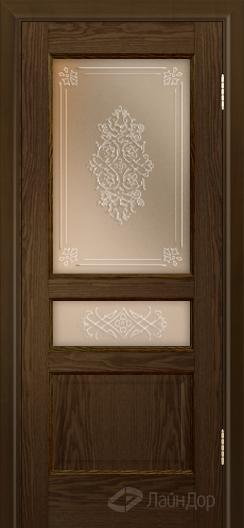Двери ЛайнДор Калина К тон 35 стекло Дамаск прозрачный на бронзе